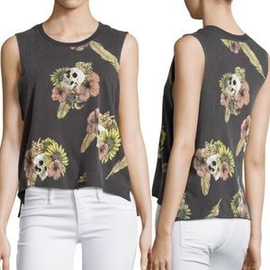 NWOT Chaser Hibiscus Skull Cropped Muscle Tank
